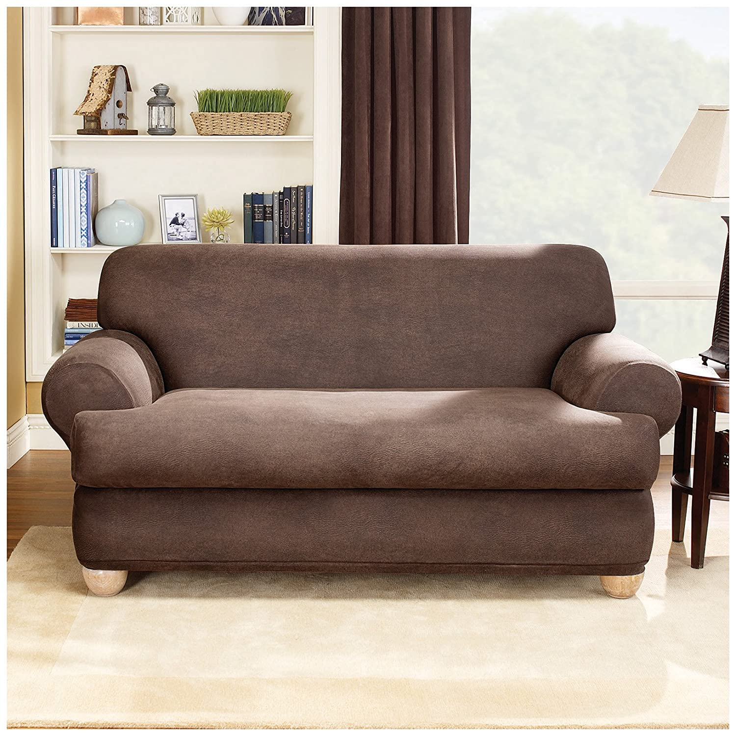 Amazon Sure Fit Stretch Leather 2 Piece Loveseat Slipcover