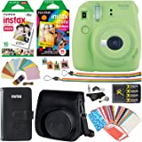 Fujifilm Instax Mini 9 Instant Camera (Lime Green), 1 Rainbow Film Pack, 1 Single Pack (White) Instant Film, case , 4 AA Rechargeable Battery's with charger, Square Photo Frames & Accessory Bundle
