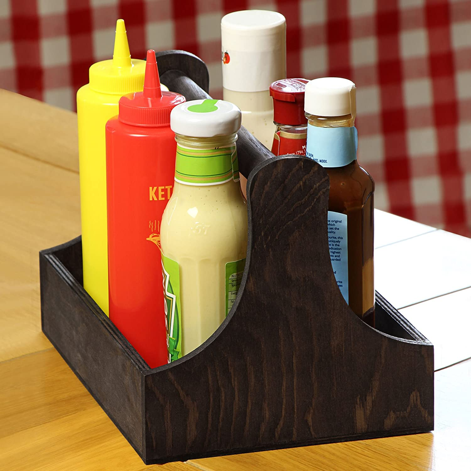 dine@drinkstuff Pine Condiment Caddy 25x18x18cm - Case of 10 Handy Table Organiser for Condiments and Sauce Bottles