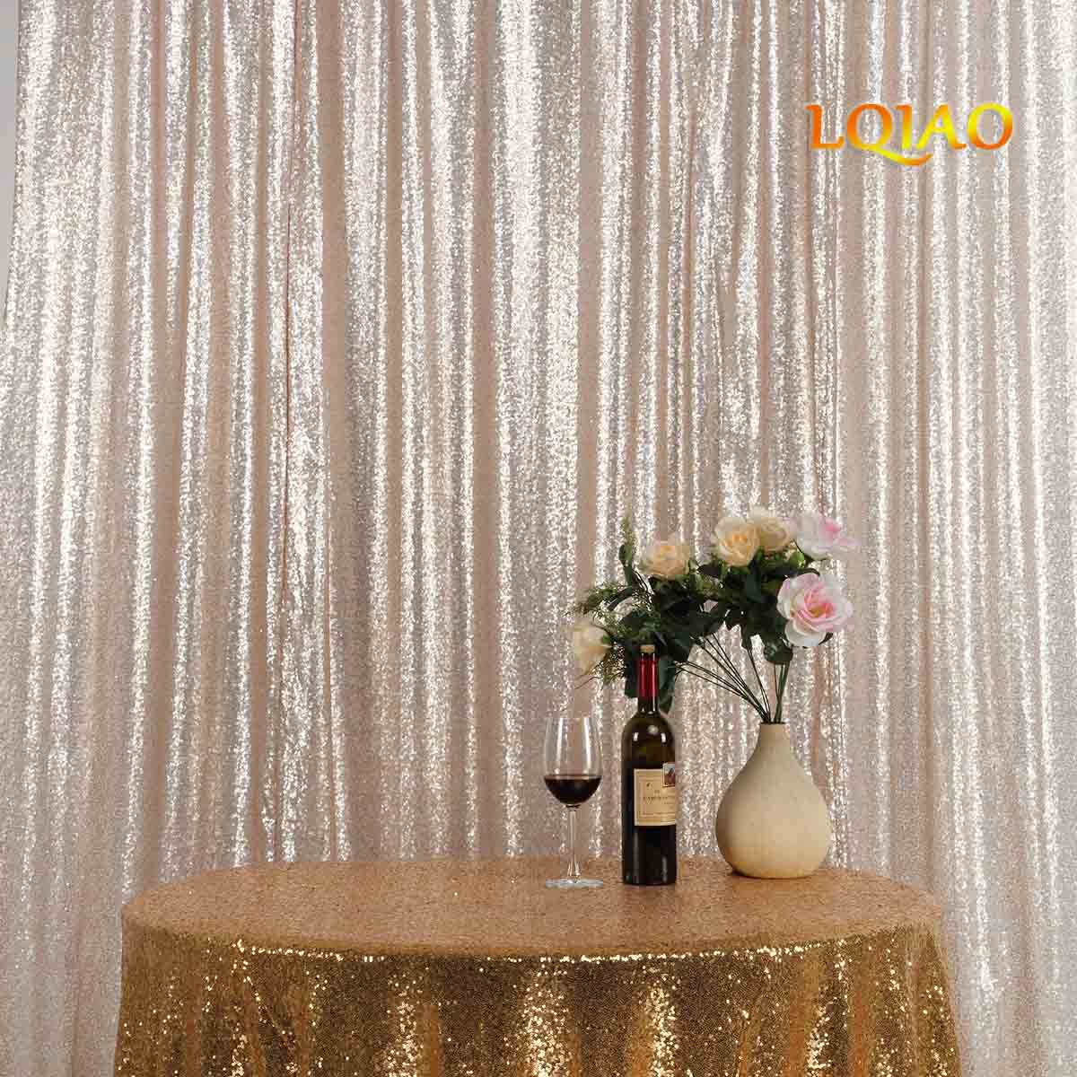LQIAO Embroidered Sequin Fabric Backdrop Curtain 8FTx8FT Champagne Modern Window Drapes Sequin Curtain for living room/photo booth backdrop