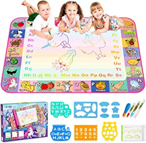 KKONES Aqua Magic Mat for Kids - Water Drawing Mat Toddler Doodle Board Educational Toy - Water Painting Mat Bring Magic Pens Travel Toys Gifts for Boys Girls Toddlers Age 2 3 4 5 6 7 8 Year Old