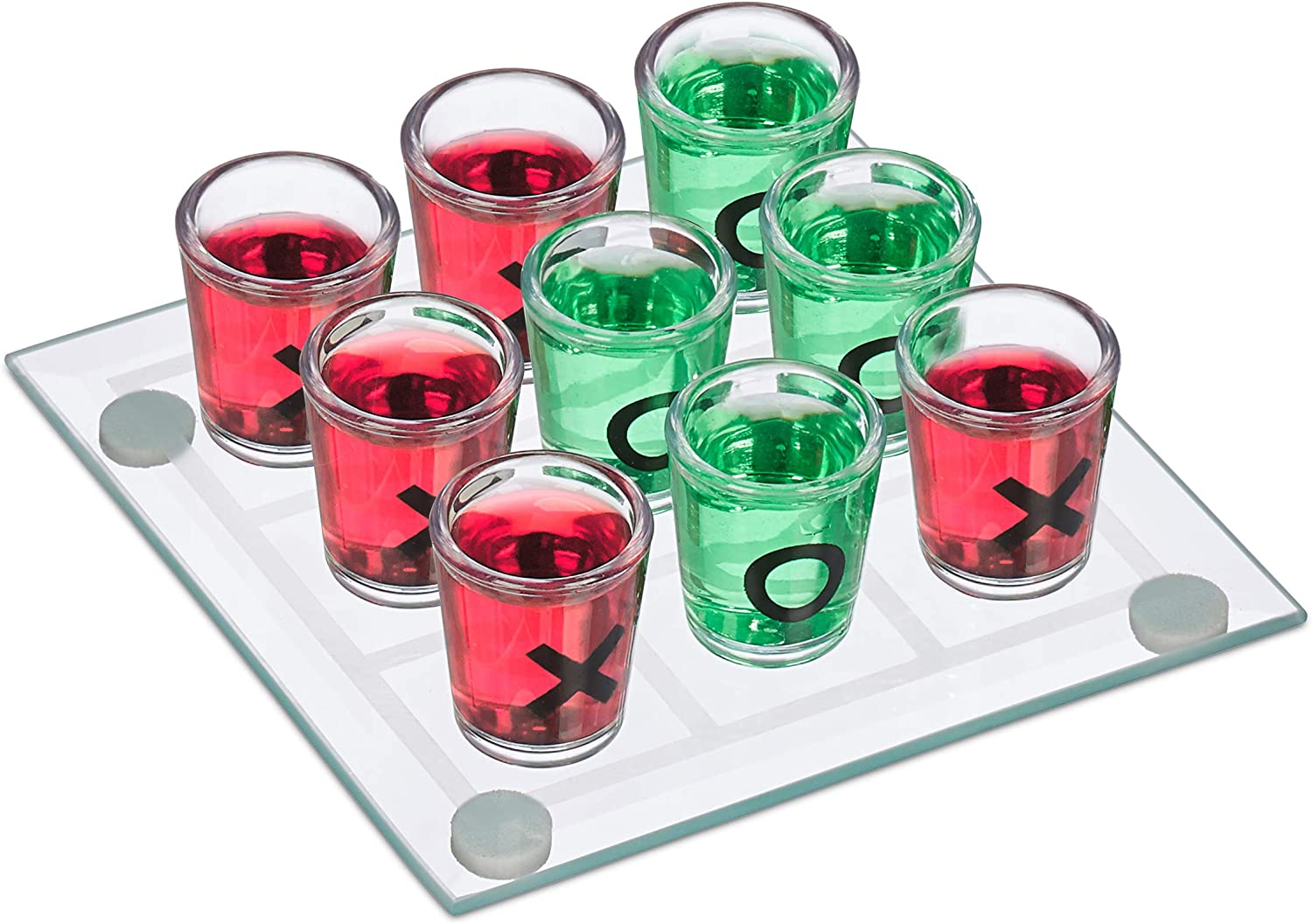 Funny Party Game Set 9 Shot Glasses Relaxdays Tic Tac Toe Drinking Game for Adults Transparent 2 Players