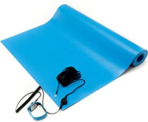 "Bertech ESD Mat Kit with a Wrist Strap and Grounding Cord, 2' Wide x 3' Long x 0.093"" Thick, Blue (Made in USA)"