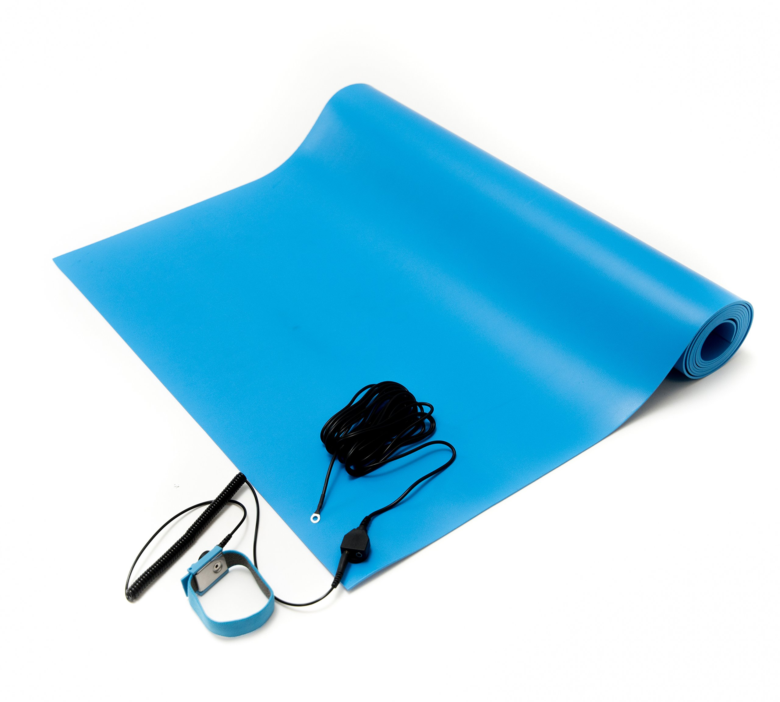 Bertech ESD Mat Kit with a Wrist Strap and a Grounding Cord, 18'' Wide x 30'' Long x 0.093'' Thick, Blue
