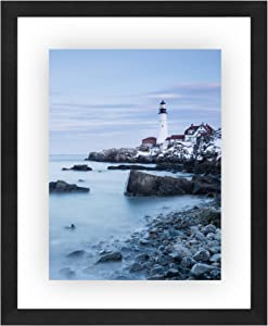Americanflat 11x14 inch Black Floating Frame | Displays 11x14, 8x10, or 5x10 photos. Lead Free Glass. Hanging Hardware Included!