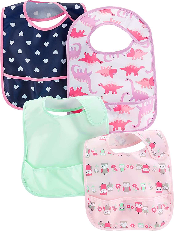Pink Dino Hearts Carter/'s Baby Girls/' 4-Pack Burp Cloths