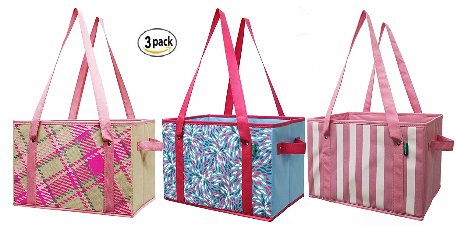 666196b7371d Amazon.com  Earthwise Deluxe Collapsible Reusable Shopping Box Grocery Bag  Set with Reinforced Bottom Storage Boxes Bins Cubes (Set of 3) (Pink)   Kitchen   ...