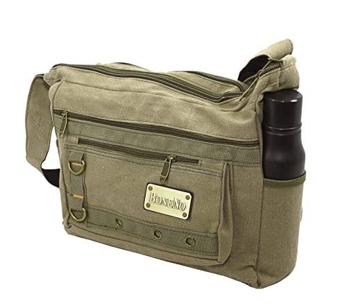 2798d6ef508c1 NISUN Men s and Women s Cotton Sling Cross Body College Bag 13x4.5x12 Inch  (Olive