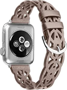 Secbolt Hollowed-Out Leather Band Compatible with Apple Watch SE, 38mm 40mm Series 6/5/4/3/2/1 , Elegant Top-grain Leather Wristband Strap Accessories for Women, Tan