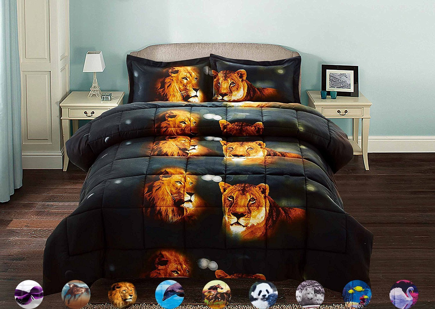 HUAJIE 2 Piece Set Beautiful Soft 3d Print Vivid Animals Pattern Box Stitched Comforter Set (1 Comforter,1 Pillowcase) (Twin, Tiger Lion) by HUAJIE (Image #1)