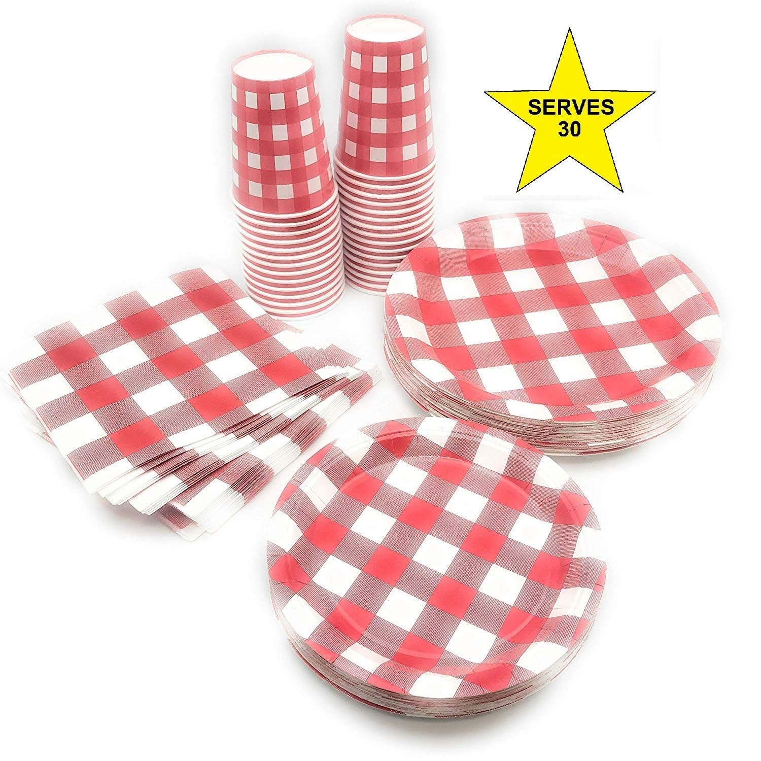 Serves 30   Complete Party Pack   Red Gingham   9' Dinner Plates   7' Dessert Plates   9 oz Cups   3 Ply Napkins   Picnic and Barnyard Party Theme
