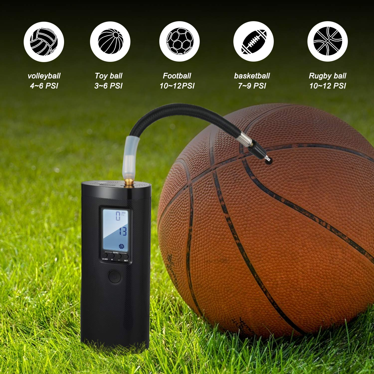 Portable Air Compressor Vastar Mini Electric Air Inflator 2000mAh Rechargeable Lithium Battery with Digital LCD LED Light for Ball and Car Bicycle Tires