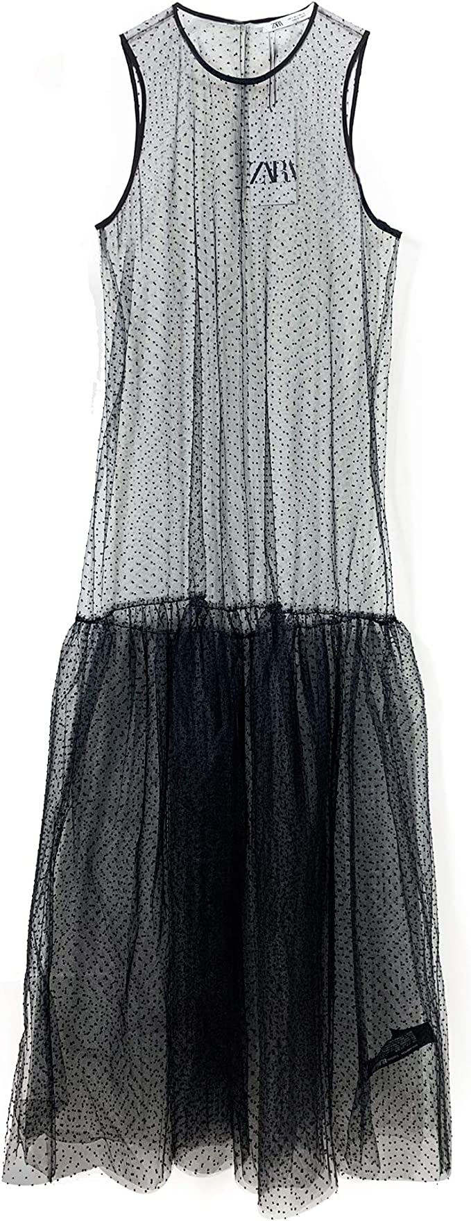 Zara 7563/242/800 Vestido de Tul de Malla con Lunares para ...