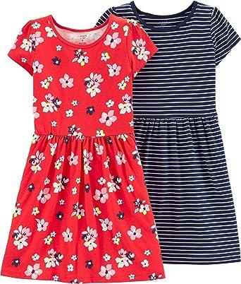 Carters 2T-8 - Vestido de manga corta de algodón para niña, 2 unidades - Multi color - 6/6X: Amazon.es: Ropa y accesorios