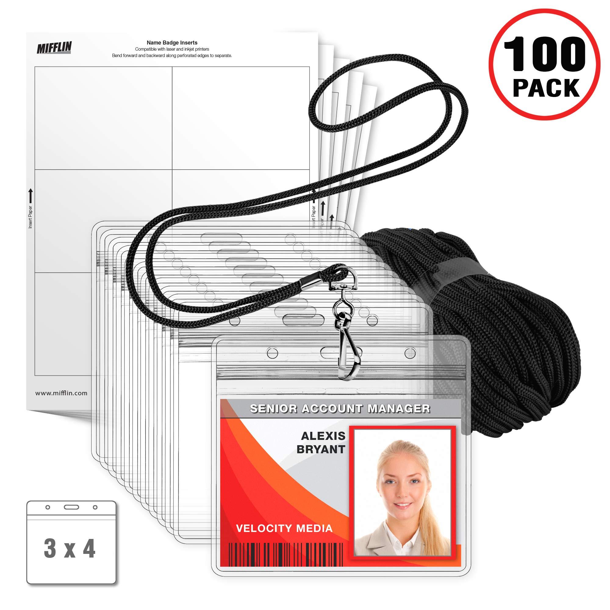 MIFFLIN Lanyard with Horizontal ID Holder + Paper Inserts 3-Piece Kit, (Black, 3x4 Inch, 100 Pack) by MIFFLIN