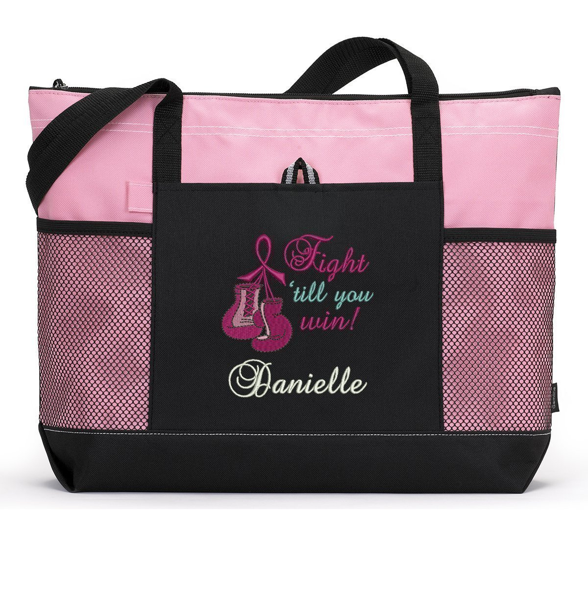 Fight Til You Win Cancer Personalized Embroidered Tote Bag