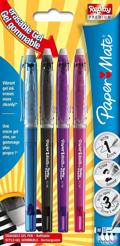 pointe moyenne 0,7/mm stylo gel effa/çable bleu lot de 12 Paper/Mate Replay Premium