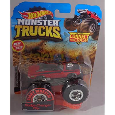 Hot Wheels New 2020 Monster Trucks Giant Wheels Red Dodge Charger R/T 1:64: Toys & Games