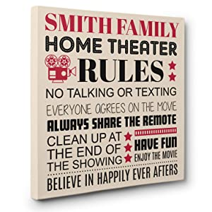 Family Rules Theater Cinema Wall Art CANVAS Decor