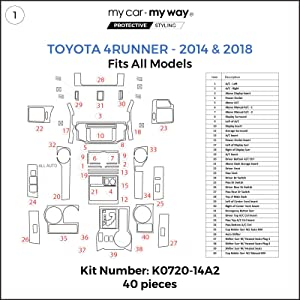 MY CAR MY WAY (Fits) Toyota 4Runner 2014-2018 Dash Kit: Manual A/C - 40 Pieces