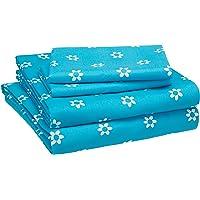 AmazonBasics Juego de sábanas, microfibra suave y fácil de lavar, infantil, matrimonial, flores azules