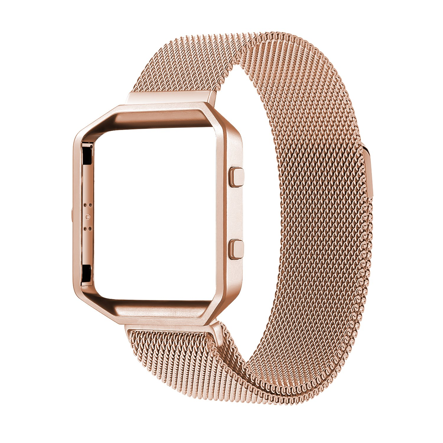 Oitom Metal Bands Strap Compatiable Fitbit Blaze,Small (5.5-6.7 in), Frame Housing+Milanese Loop Stainless Steel Accessory Band for Fitbit Blaze Smart Watch Fitness Tracker Women Rose Gold