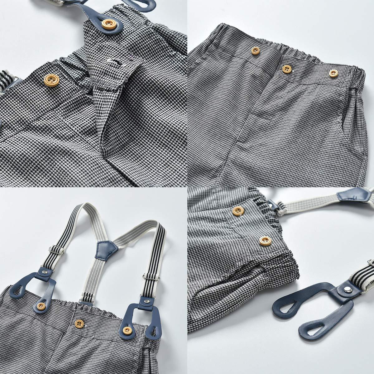 Suspender Pants Outfits Set Kids Toddler Boys Gentlemen Suit Long Sleeve Bow Tie Shirt