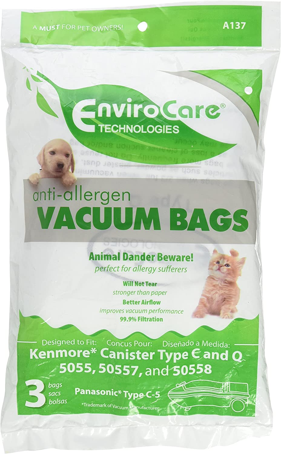 50558 50557 and Panasonic Type C-5 6 pack Envirocare Replacement Allergen Vacuum Bags for Kenmore Canister Type C and Q 50555