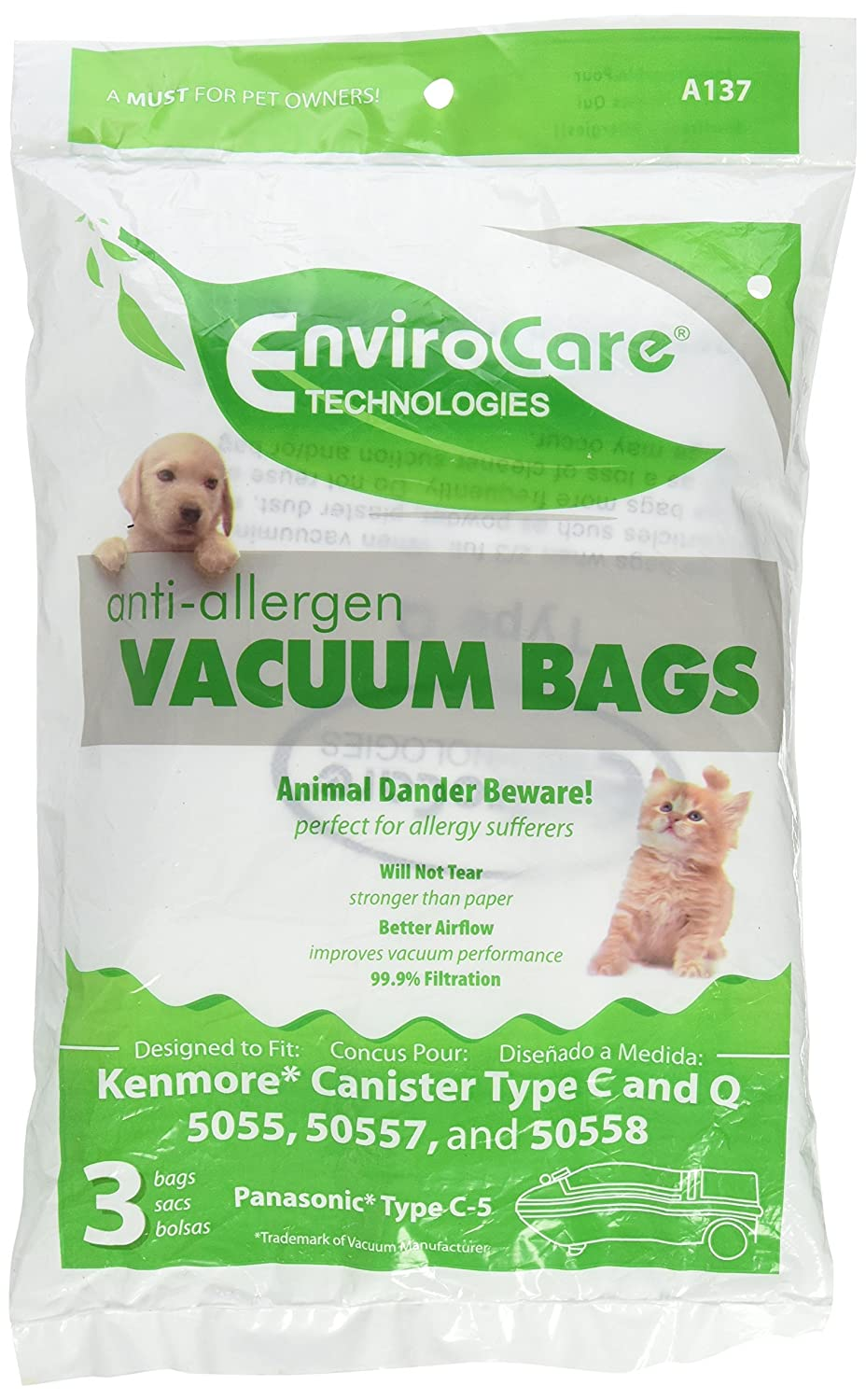 EnviroCare 6 Kenmore HEPA Canister Type C, Q, 50558 50555 50557 Sears Anti-Allergen Vacuum Bags FBA_A137