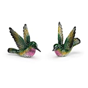 Napco Flying Hummingbird Speckled Green 4 x 3 Resin Stone Garden Figurines, Set of 2