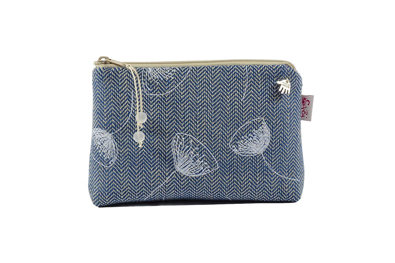 Kosmetiktasche Fischgrät blau mit weißen Blumen, kleine Kosmetiktasche, Schminktasche