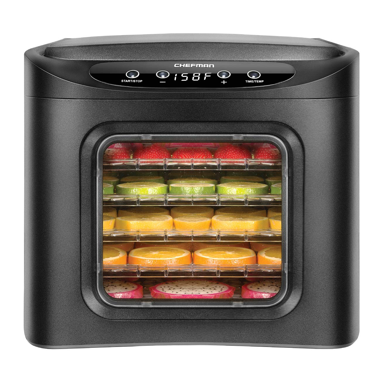 Chefman Food Dehydrator Machine 6 Tray BPA Free with Adjustable Digital Timer and Temperature Control Touch Screen for Drying Beef Jerky, Fruit, Vegetables, Herbs, Flowers and Meat or Fish Black