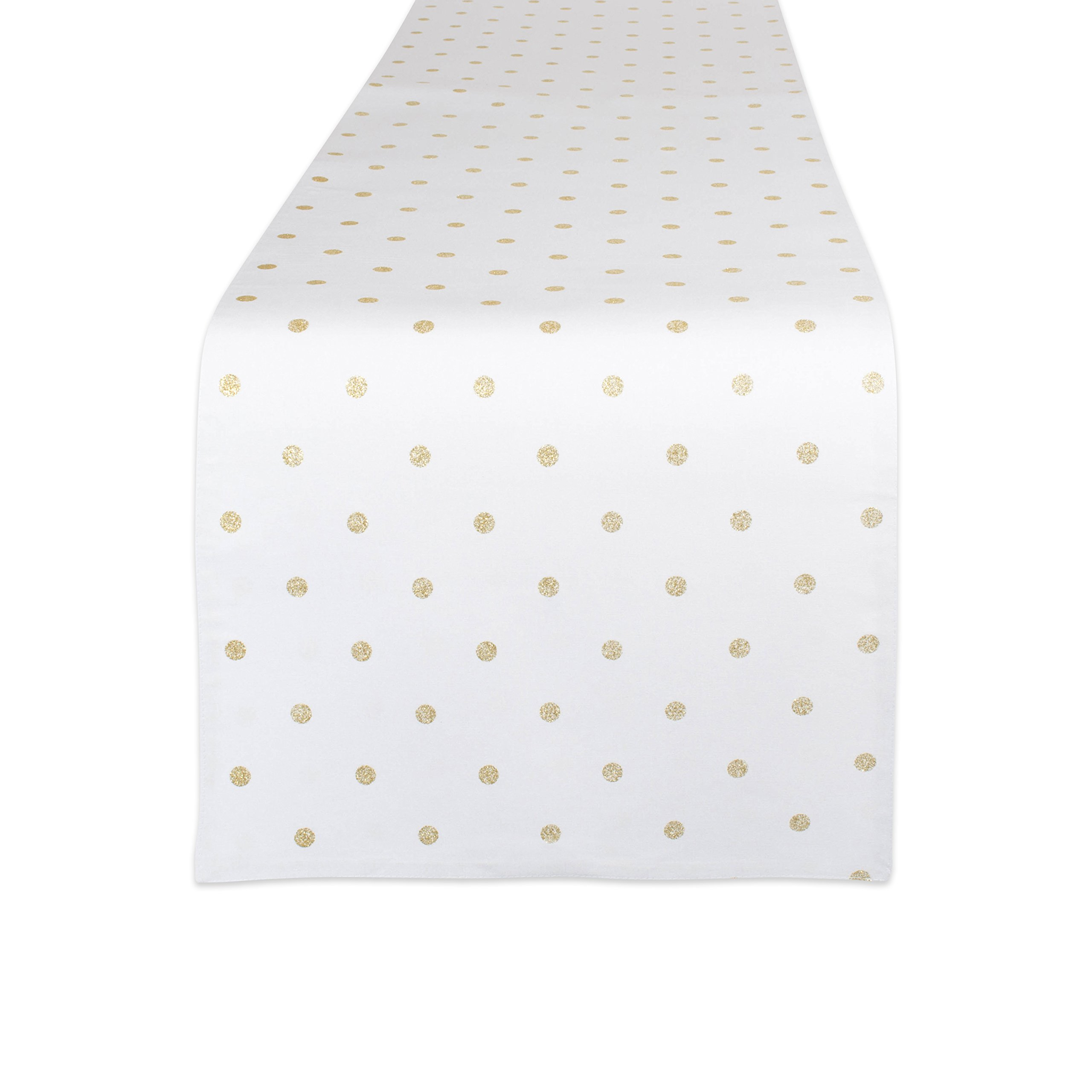 DII Z02217 Reversible Polka Dot Cotton Dining Room, Barbecues, Foyer Summer Parties, and Everyday Use, 13.75x72 Table Runner, White Base and Metallic Gold Dots