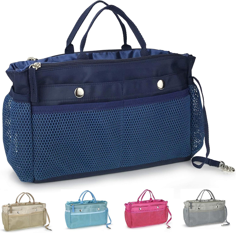 Handbag Organizer Insert 15 Pockets Purse Tote Insert with Convertible Drawstring Pouch (Dark Blue)