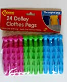 24 Dolly Pegs Clothes Drying Dryer Airer Washing Laundry Craft ETC