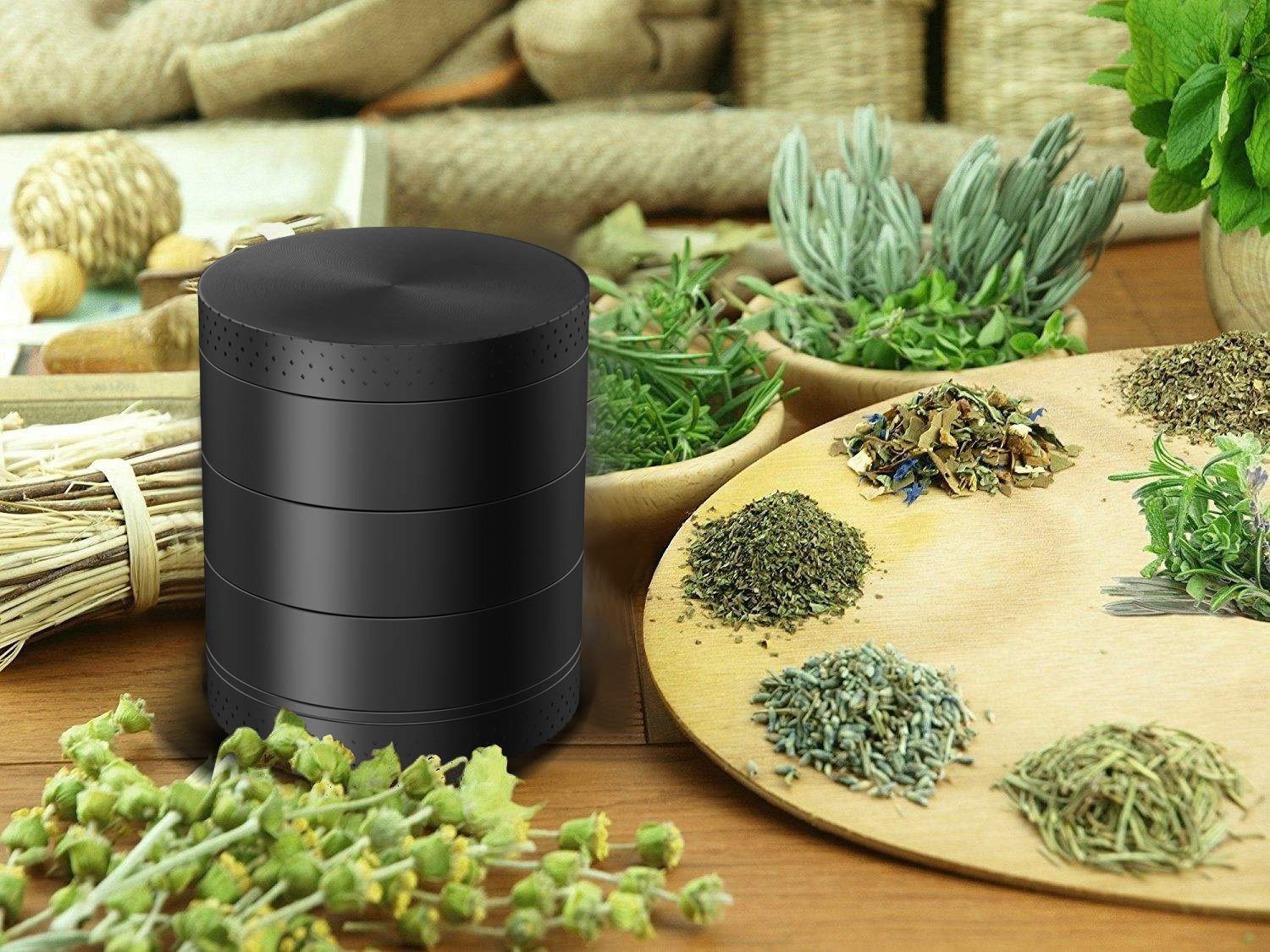 Spice Herb Grinder Aluminum Alloy Crusher ZHENDUO Grinder 5 Piece Herb Grinder 2.1 Inches Metal Grinder with Pollen Catcher