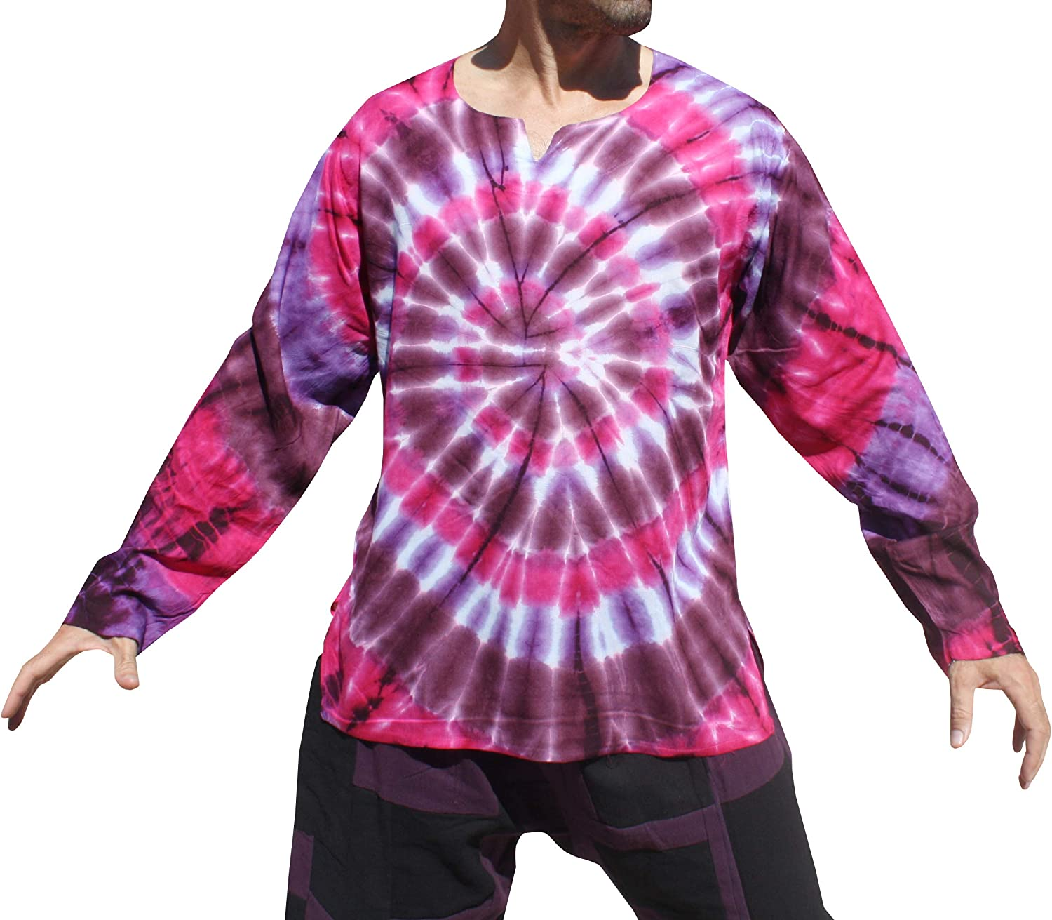 Full Funk Open Collar Long Sleeve Shirt in Light Summer Viscose Rayon Tie Dyed