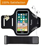 """Phone Armband, Pavora iPhone Armband for iPhone X, 8, 7, 6, 6S, 5 SE, Water Resistant, Fingerprint Access, Card Holder, Free 6"""" Extender fit arm size 10""""-21"""" Fits 4.5""""-5.2"""" smart phone (Black, 5.2"""")"""