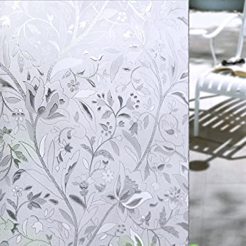 Homein/® Privacy Frosted Window Film Flower Rattan 90x200CM Self Adhesive Glass Frosting Film Static Cling Anti UV Reusable Opaque Blackout Blinds Vinyl Sticker Door Cover Bedroom Bathroom Office