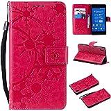 SONY Xperia Z3 ケース CUSKING 手帳型 ケース ストラップ付き かわいい 財布 カバー カードポケット付き エクスペリアZ3 マジックアレイ ケース - ホトピンク