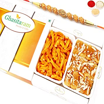 Ghasitaram Gifts Rakhi Gifts for Brother Rakhi Sweets - Mysore Pak and Chakli Hamper Om Rakhi