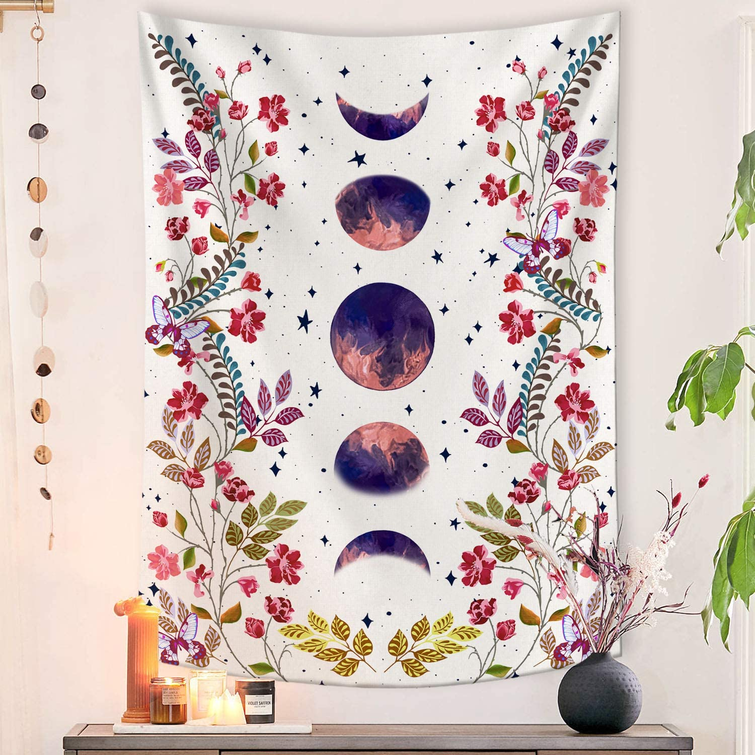 Lifeel Moonlit Garden Tapestry, Moon Phase Surrounded by Vines and Flowers White Wall Decor Tapestry 36×48 inches