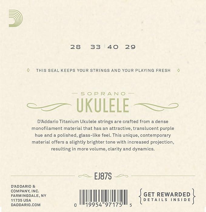 Amazon Daddario Ej87s Titanium Ukulele Strings Soprano