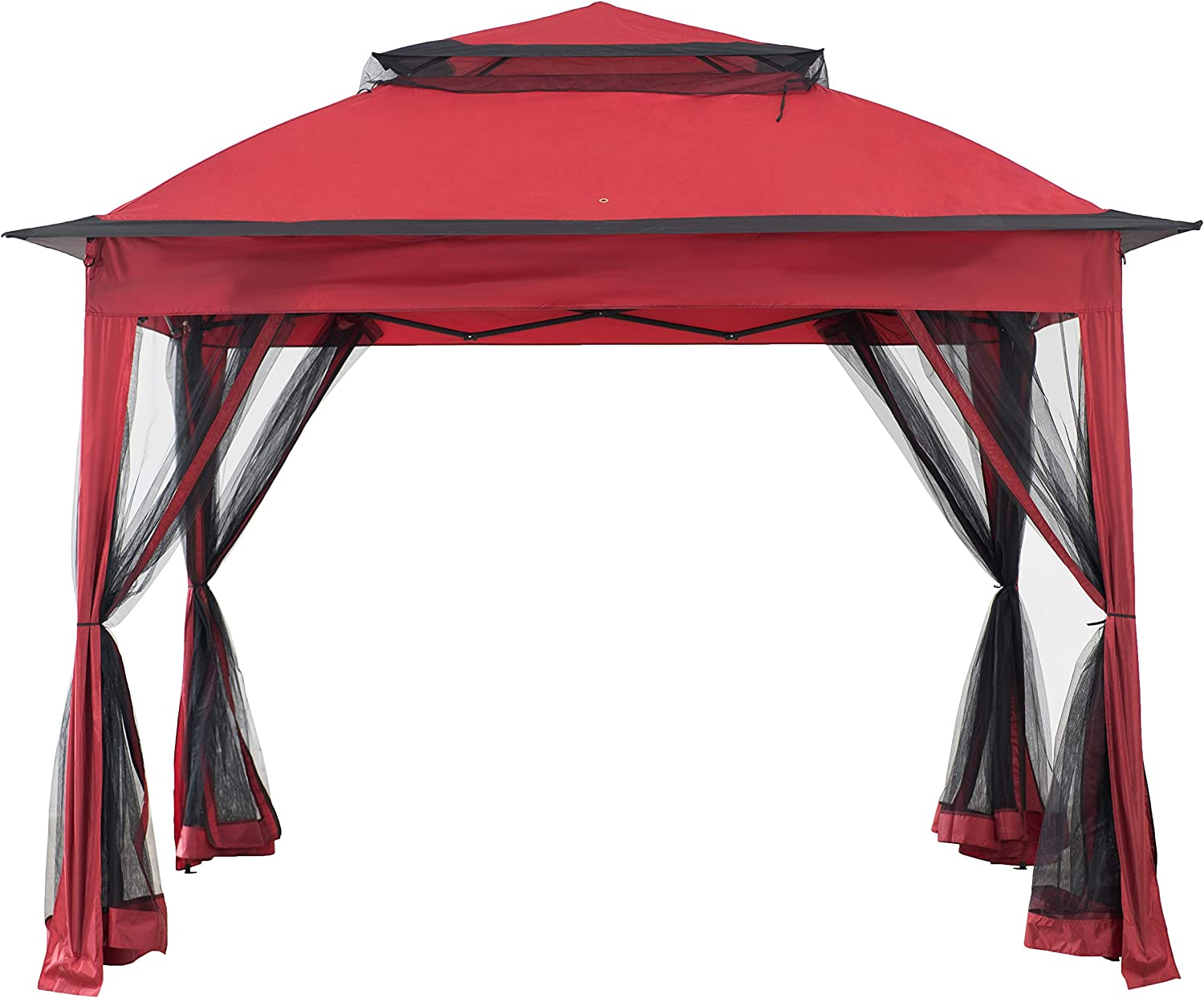 AmazonBasics Outdoor Patio Garden Pop Up Gazebo with Mosquito Net - Terra Cotta Red