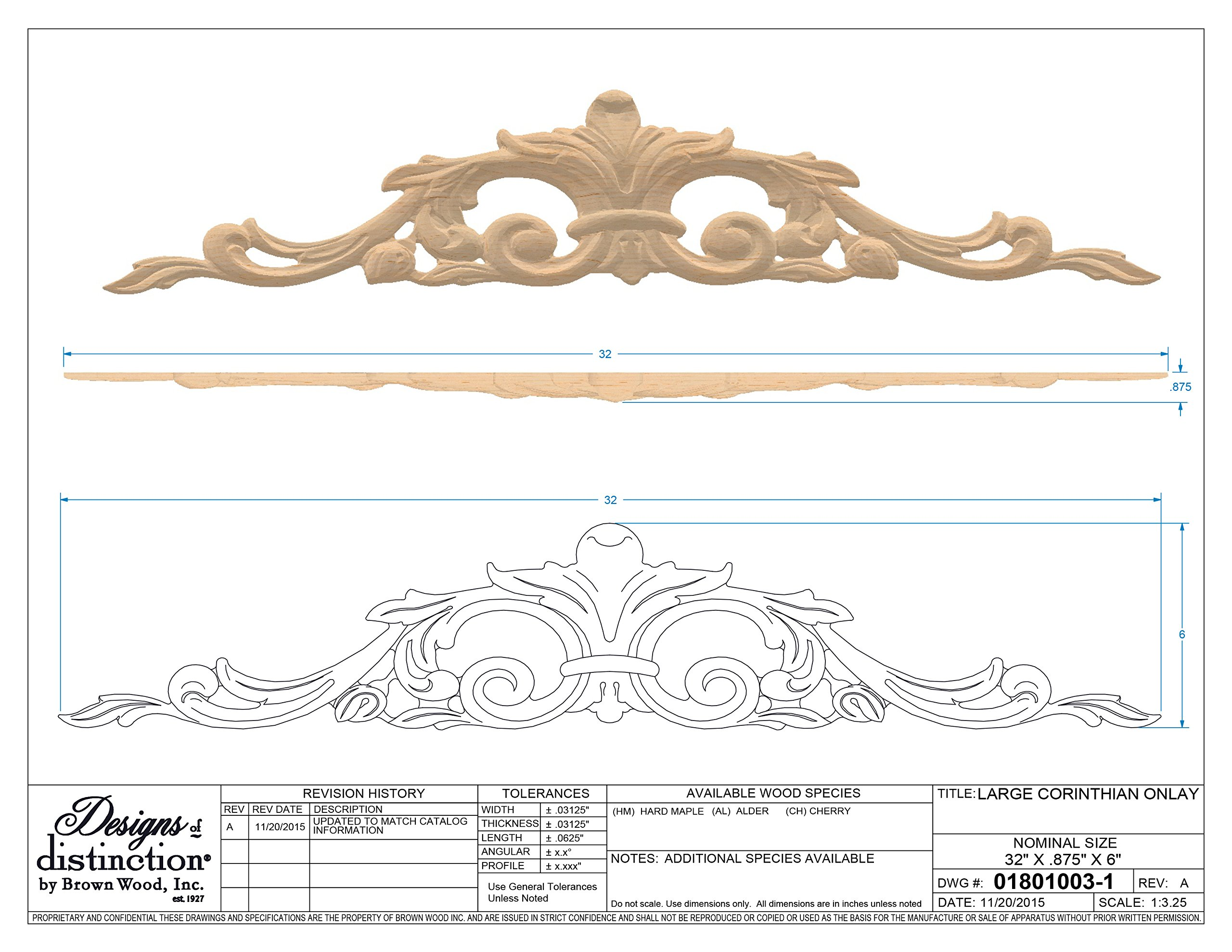 Corinthian Carved Wood Onlay, Alder by Designs of Distinction (Image #1)