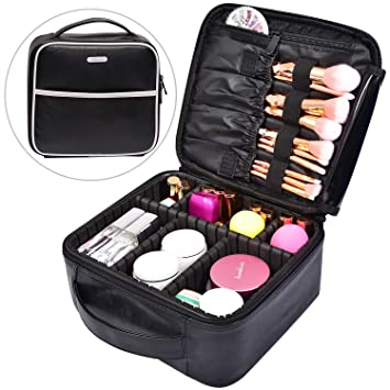 Makeup Bag Cosmetic Leather Organizer - 10.4 quot  PU Travel Train Case  with Compartments and Dividers 13273b82934ac