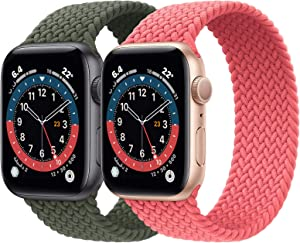 2 Pack Braided Solo Loop Sport Bands Compatible for Apple Watch Band 38mm 40mm 42mm 44mm Soft Stretchy Wristband Women Men Elastic Strap Compatible for iWatch Series 6/SE/5/4/3/2/1, 42mm/44mm Small