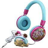 Cute Girls Fashion Wired Headphones with Built in Microphone and Squishy Toy Bunny for Stress Relief Clips to Headphone Wire
