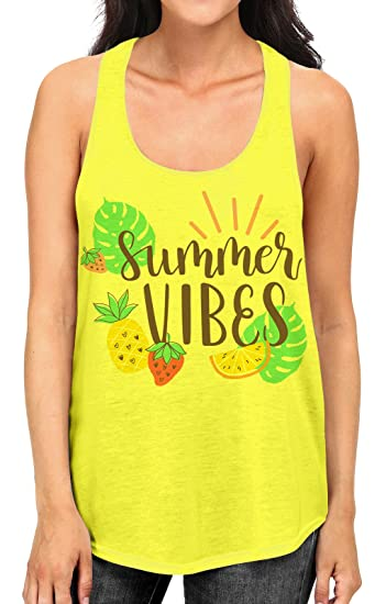 1c8cc94f8b59 Junior s Tropical Summer Vibes Tee B952 PLY Neon Yellow Racerback Tank Top  Small