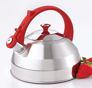 Creative Home Steppes 2.8 Qt Stainless Steel Teakettle - Brushed Finish with Red Handle